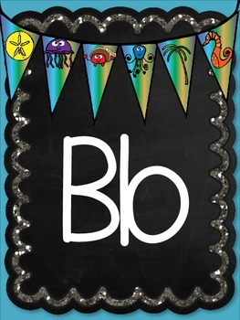 Ocean Chalkboard Letters A-Z Word Wall Labels Posters Banners