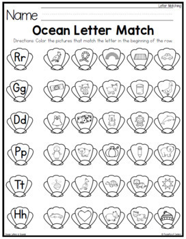 Ocean Letters and Beginning Sounds Puzzles