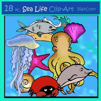 Ocean Life 18 pc. Clip-Art Set: 9 B&W, 9 Color