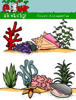 Ocean Life Accessories Clipart / Graphics - 300dpi Color Grayscale Black Lined