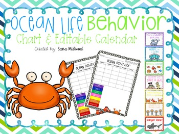 Ocean Life Behavior Chart and Editable Calendars
