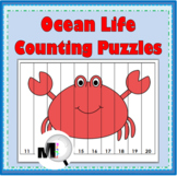 Ocean Theme - Ocean Animals Number Counting Puzzles - Set