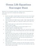 Ocean Life Equations Scavenger Hunt