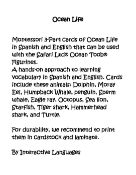 Ocean Life - Montessori 3-part cards