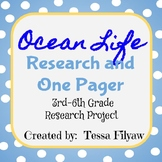 Ocean Life Research One Pager Lesson Plan