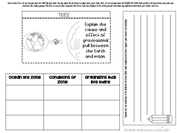 Ocean Life Zones and Tides Science Reading Passage Interactive Notebook