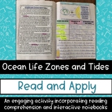 Ocean Life Zones and Tides Science Reading Passage Interac