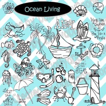 Ocean Living - Line Art
