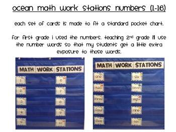 Ocean Math Work Station Numbers 0-16