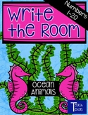 Ocean Animals & Plants Math Write the Room - Numbers 1-20