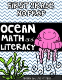 Ocean Math and Literacy No Prep First Grade Pack