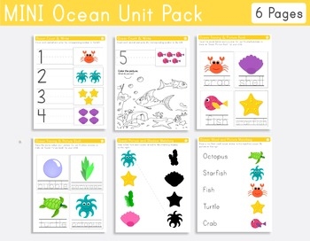 Ocean Mini Unit Pack for Pre-k and Kindergarten
