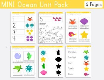 Ocean Mini Unit Pack for Pre-k and Kindergarten