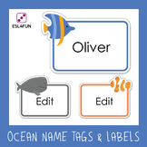 Ocean Name Tags and Labels- Editable