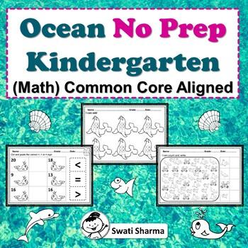 Ocean No Prep Kindergarten Math Packet