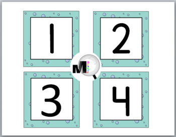 Ocean Theme Classroom Decor - Number Labels 1 - 40