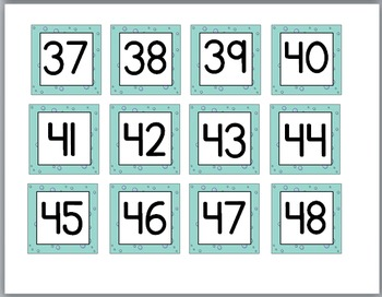 Ocean Theme Classroom Decor - Number Labels 1 – 48 {Very Small Version}