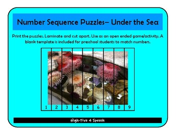 Ocean Number Puzzles 1-10, Math, Speech Therapy, Autism