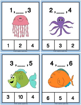 Ocean Number Sequence Clothespin and Task Cards