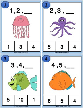 Number Sequence Clothespin and Task Cards - Ocean Theme