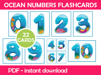 Ocean Numbers Flash Cards; Kindergarten; Preschool; Homeschool; Math ...