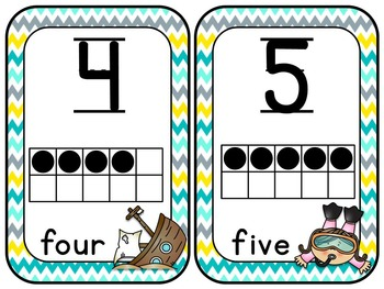 Ocean Numbers with 10 Frames with or without pictures
