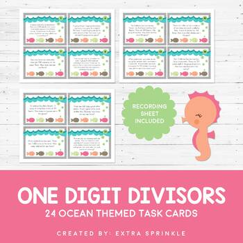 Ocean One Digit Divisors Without Remainders Task Cards and Scoot Game
