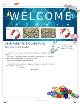 Ocean Parent Welcome Letter