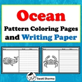 Ocean theme, Pattern Coloring and Writing Paper, Creative writing packet
