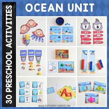 Ocean Theme Preschool and Kindergarten Learning Materials