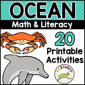 Ocean Theme Printable Math Literacy Activities Pre K Preschool