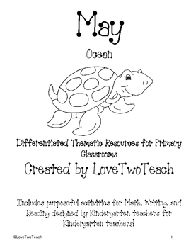 Ocean:  Purposeful activites for Math, Writing and Reading for Kinderg