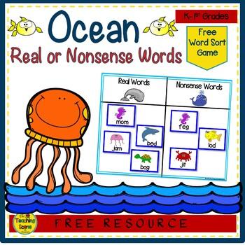 Ocean Themed Real & Nonsense Word Sort {FREE}