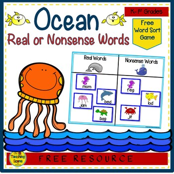 Ocean Themed Real & Nonsense Word Sort {FREE}