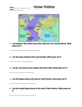 Ocean Riddles- Labeling the Five Oceans