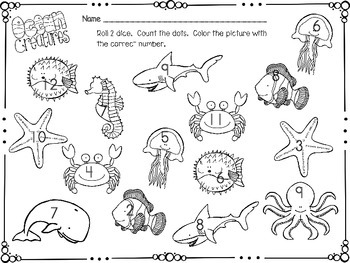 Ocean Math Dice Game
