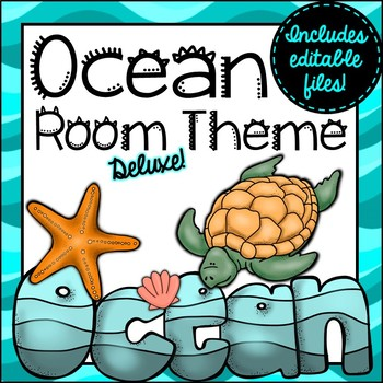 Ocean Room Theme Classroom Decor {Editable}