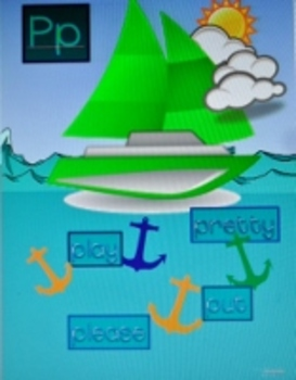 Alphabet & Sight Word Display Cards & Word Wall-Ocean & Boat Theme