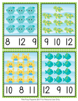 Ocean Sea Animals Count and Clip Cards Numbers 1-12