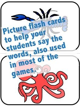 Ocean Sea Animals Flash Cards, Activities, and Games for ELL and ESL
