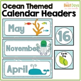 Ocean / Sea Life Themed Calendar Headers