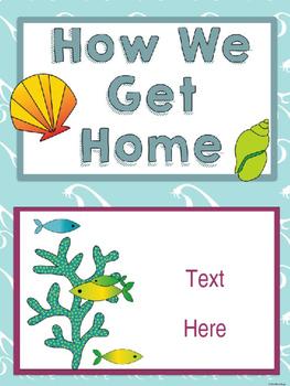 Ocean / Sea Life Themed Classroom Decor:  Editable Go Home Signs