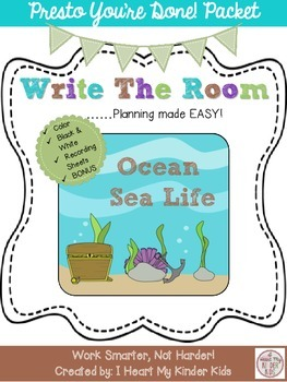Ocean Sea Life Write the Room Presto You're Done Packet