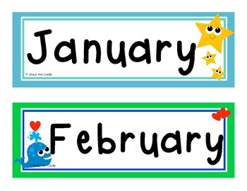 Ocean Sea Theme Calendar Heads