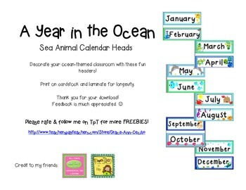 Ocean Sea Theme Calendar Heads