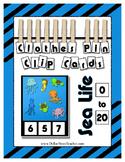 Ocean Sea Theme Counting 0 to 20 Clip Cards Math Center for Preschool