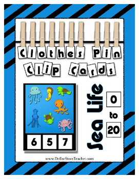 Ocean Sea Theme Counting 0 to 20 Clip Cards Math Center for Preschool