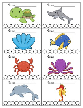 Ocean Sea Themed Punch Cards