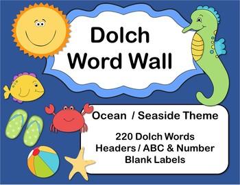 Ocean / Seaside Dolch Word Wall Bundle