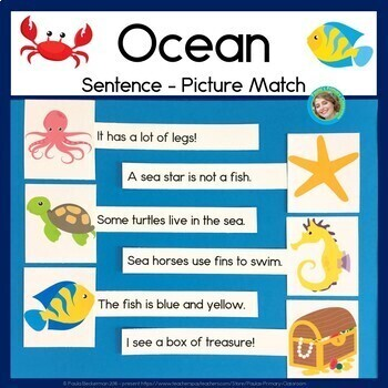 Ocean Sentence Picture Match Reading Center with Sight Words